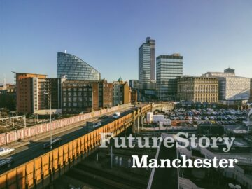 FutureStory Manchester skyline buildings and bridge
