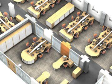 3D cad design office interior