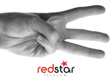 Redstar Telecom black and white three fingers