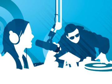 Radio DJ blue illustration