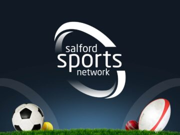 Salford Sports Network logo with sports balls on grass