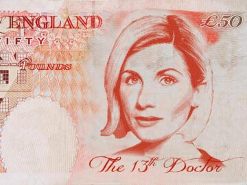 Jodie Whittaker as Dr Who fifty pound note
