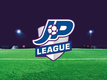 JP League five-a-side football logo on astro-turf 4g pitch