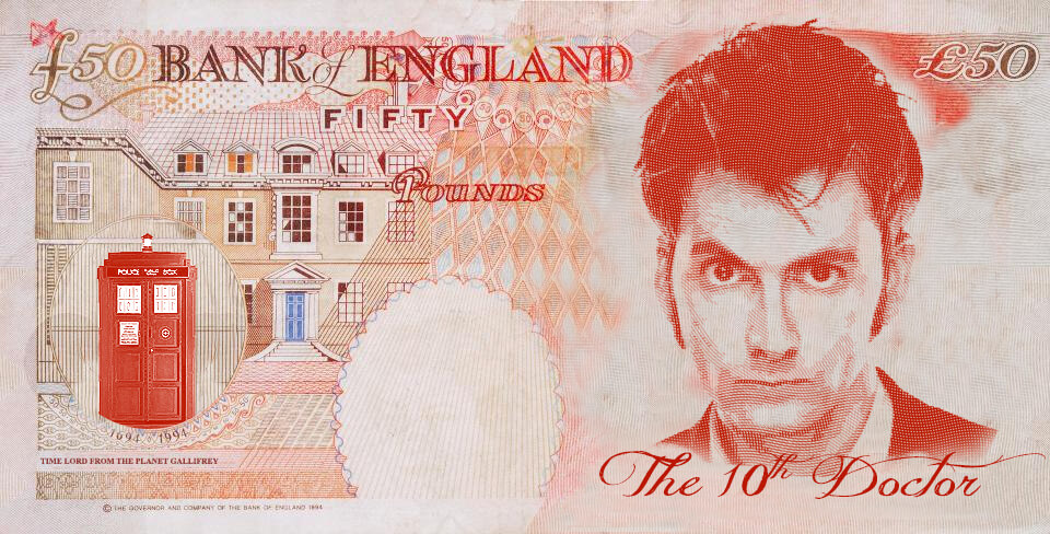 David Tennant as Dr Who on the UK fifty pound note