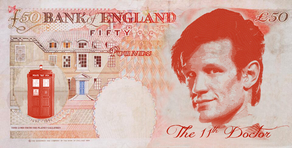 Matt Smith as Dr Who on the UK fifty pound note