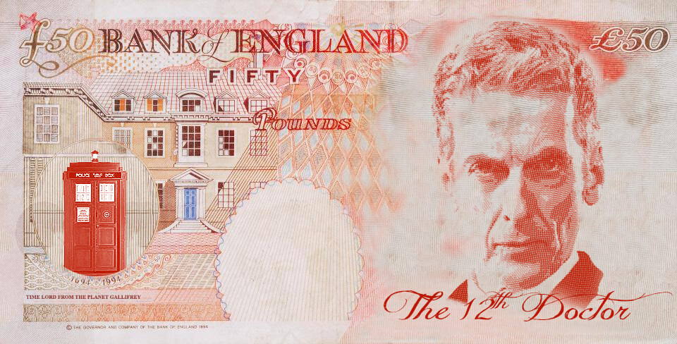 Peter Capaldi as Dr Who on the UK fifty pound note