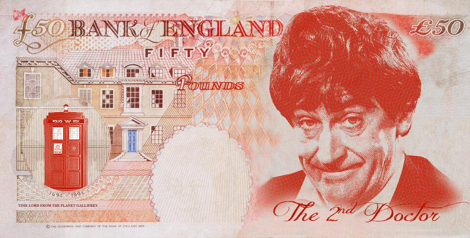 Patrick Troughton as Dr Who on the UK fifty pound note