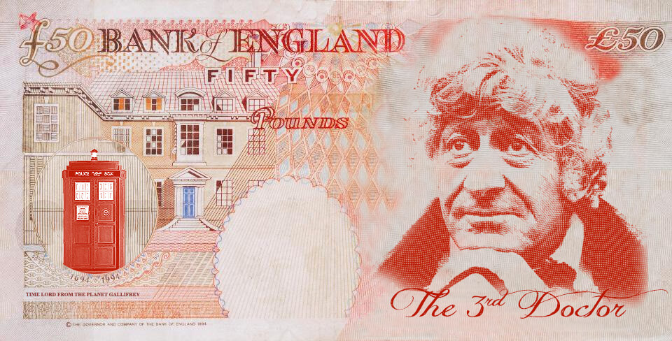 Jon Pertwee as Dr Who on the UK fifty pound note