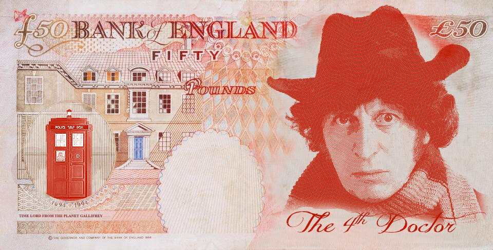 Tom Baker as Dr Who on the UK fifty pound note