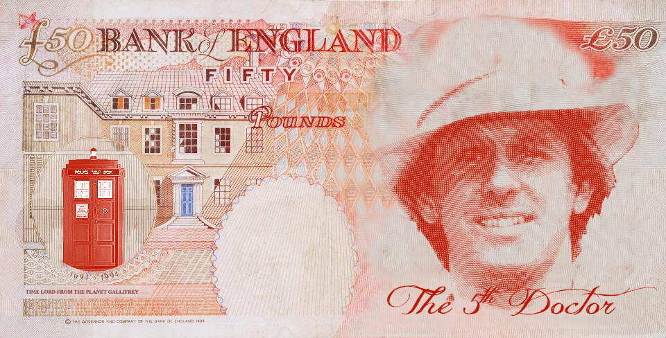 Peter Davison as Dr Who on the UK fifty pound note