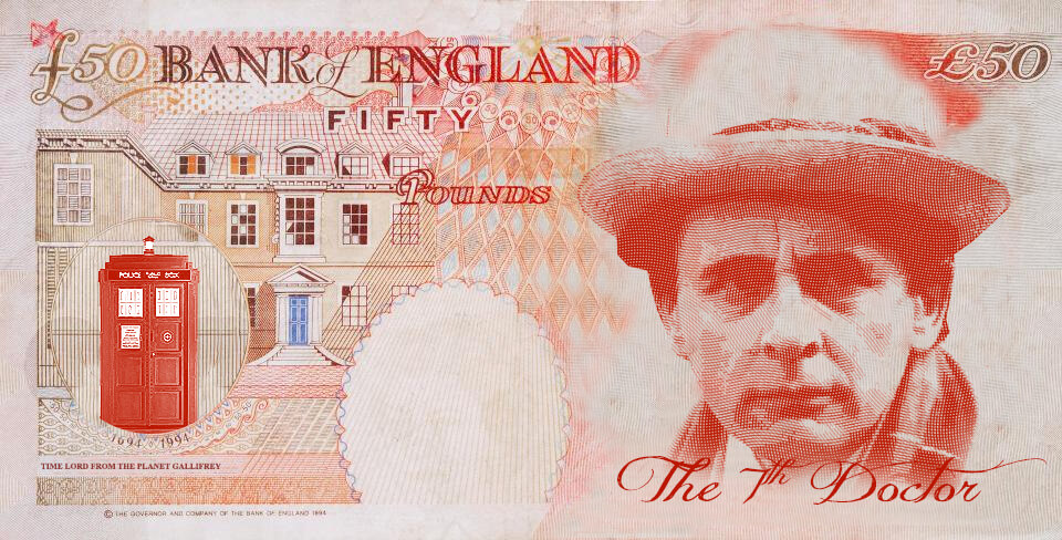Sylvester McCoy as Dr Who on the UK fifty pound note