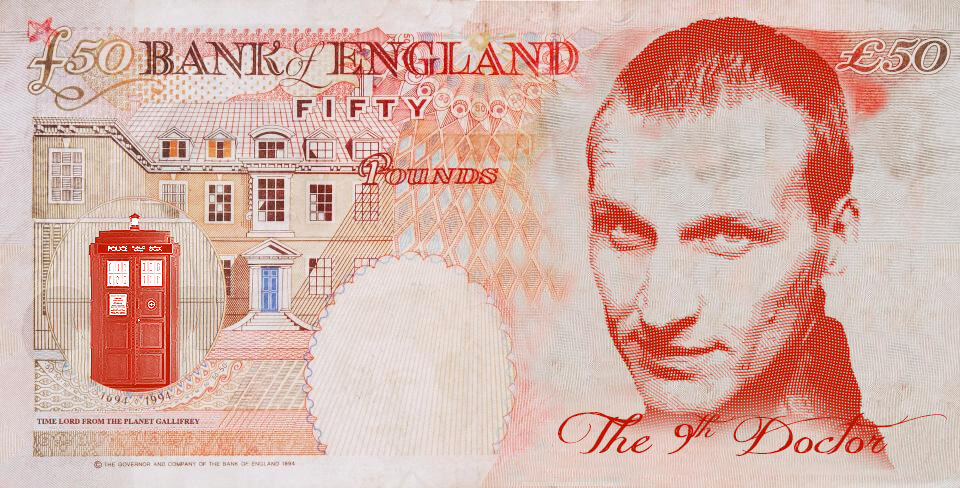 Christopher Eccleston as Dr Who on the UK fifty pound note
