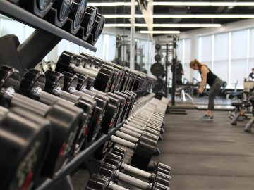 Weights in a London gym interior