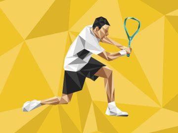 Squash player holding racket isometric illustration