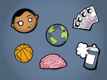 Sketch illustrations of child's head, bank notes, planet earth, basketball, brain and spray paint