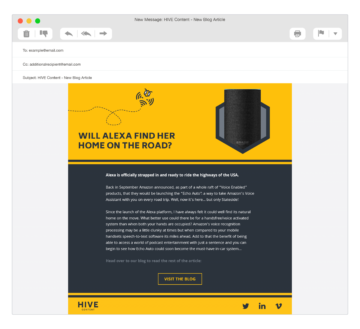 HIVE Content email promotion design