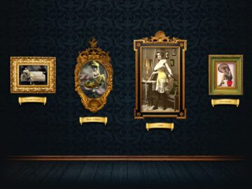 Vintage paintings in gold frames on patterned wallpaper