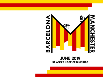 Barcelona to Manchester bike ride Catalan logo design