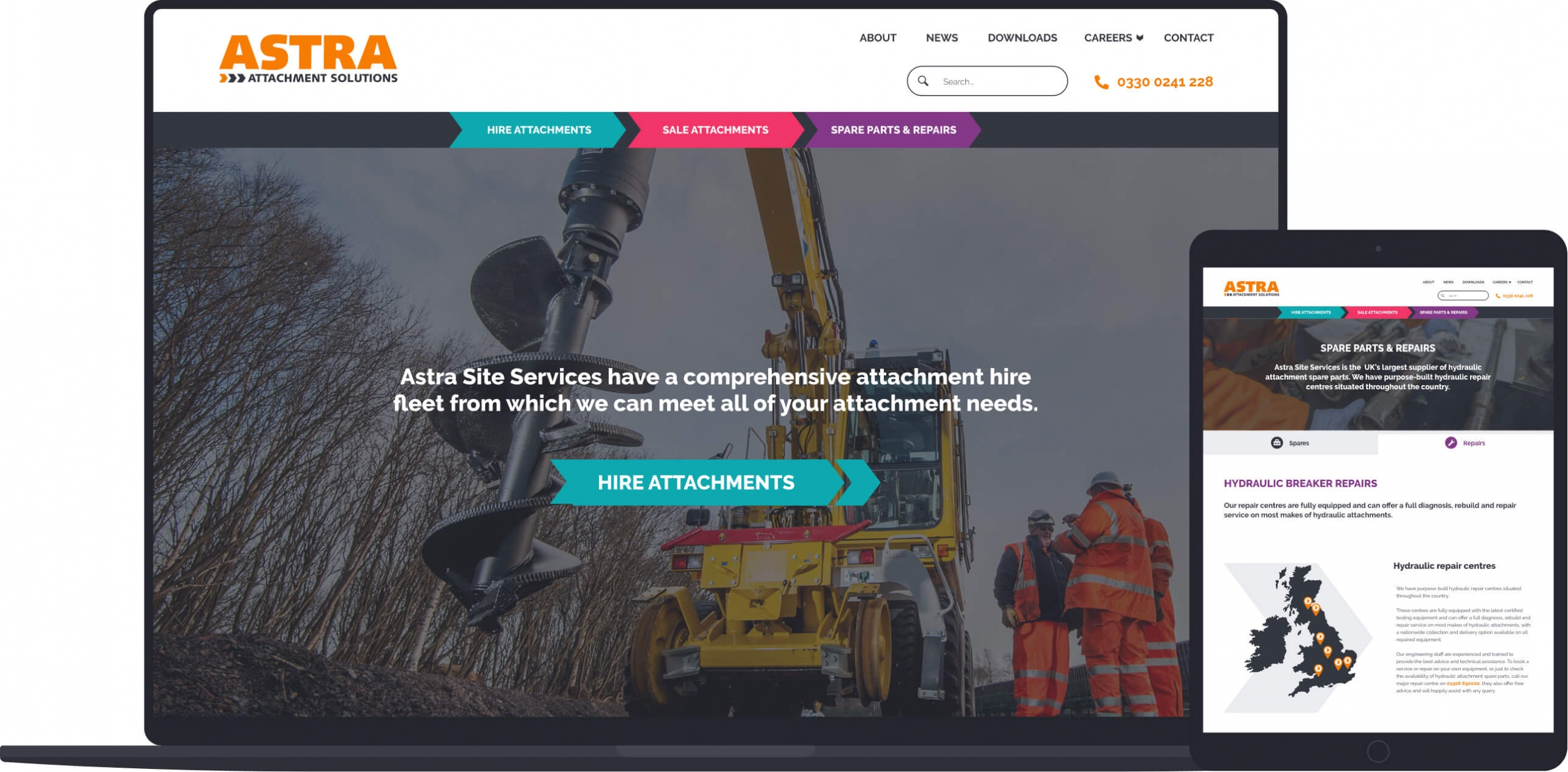 Astra Site Services home page responsive