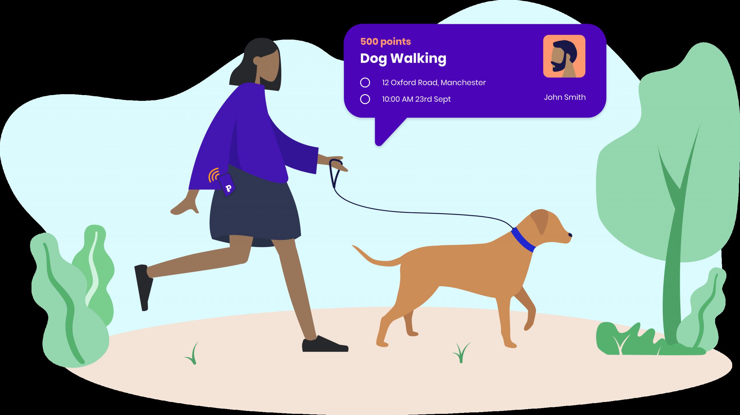Phavour dog walking illustration