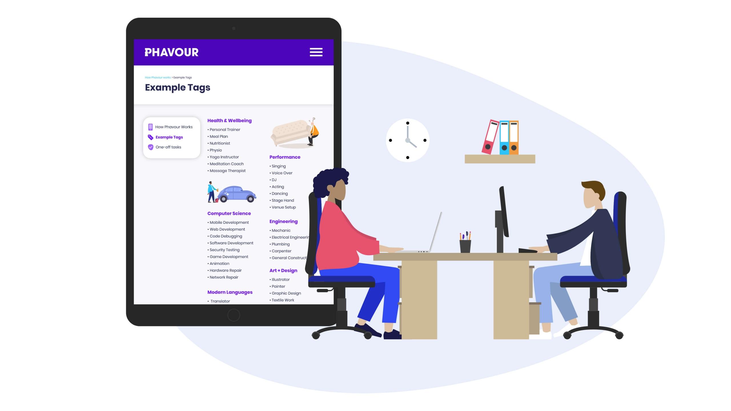 Phavour example tags illustration