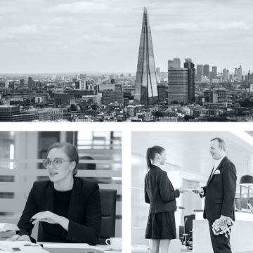 Black and white London shard and tax lawyers