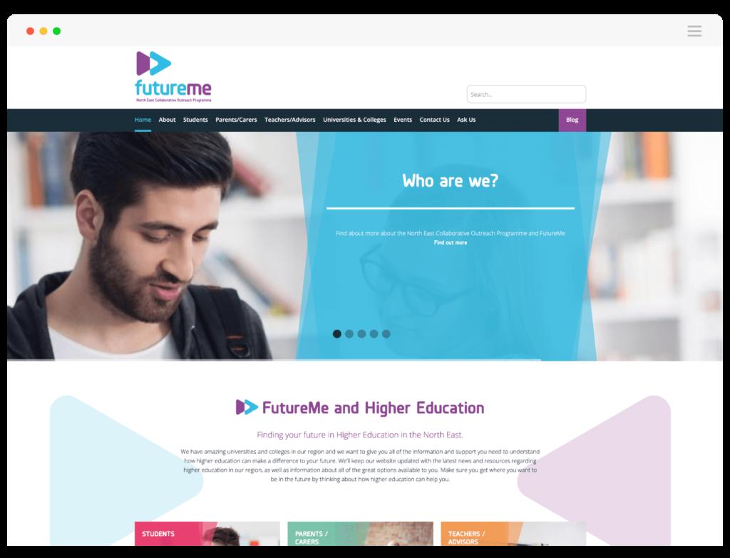 FutureMe website home page banner slider design