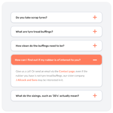 Website frequently asked questions design