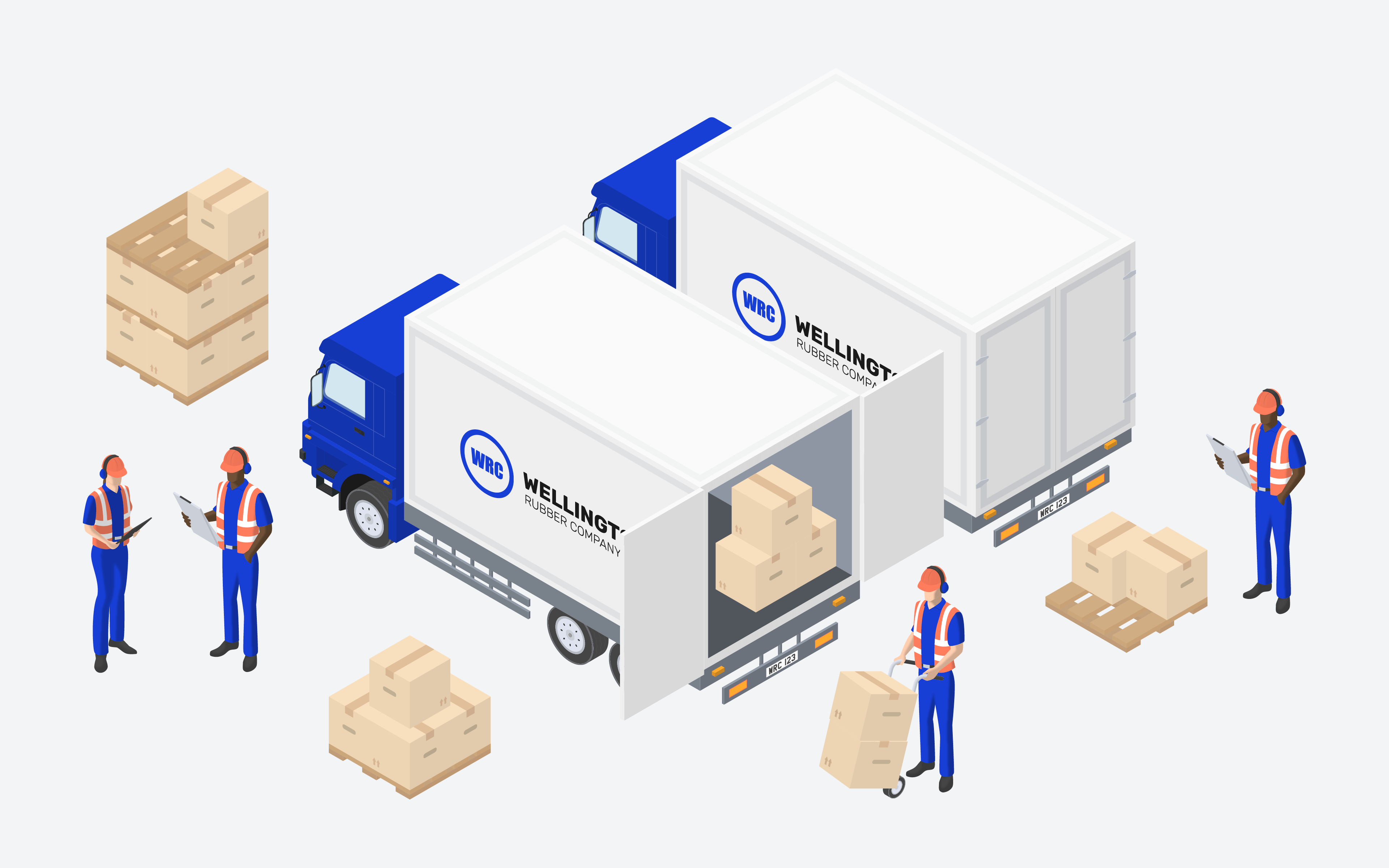 Van lorry and factory workers illustration