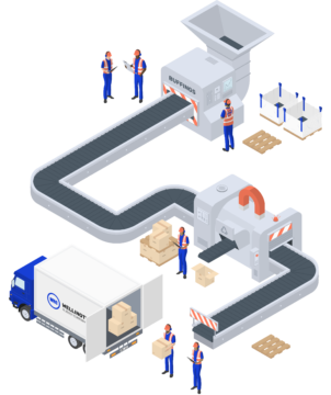 Factory workers, machinery and van lorry illustration