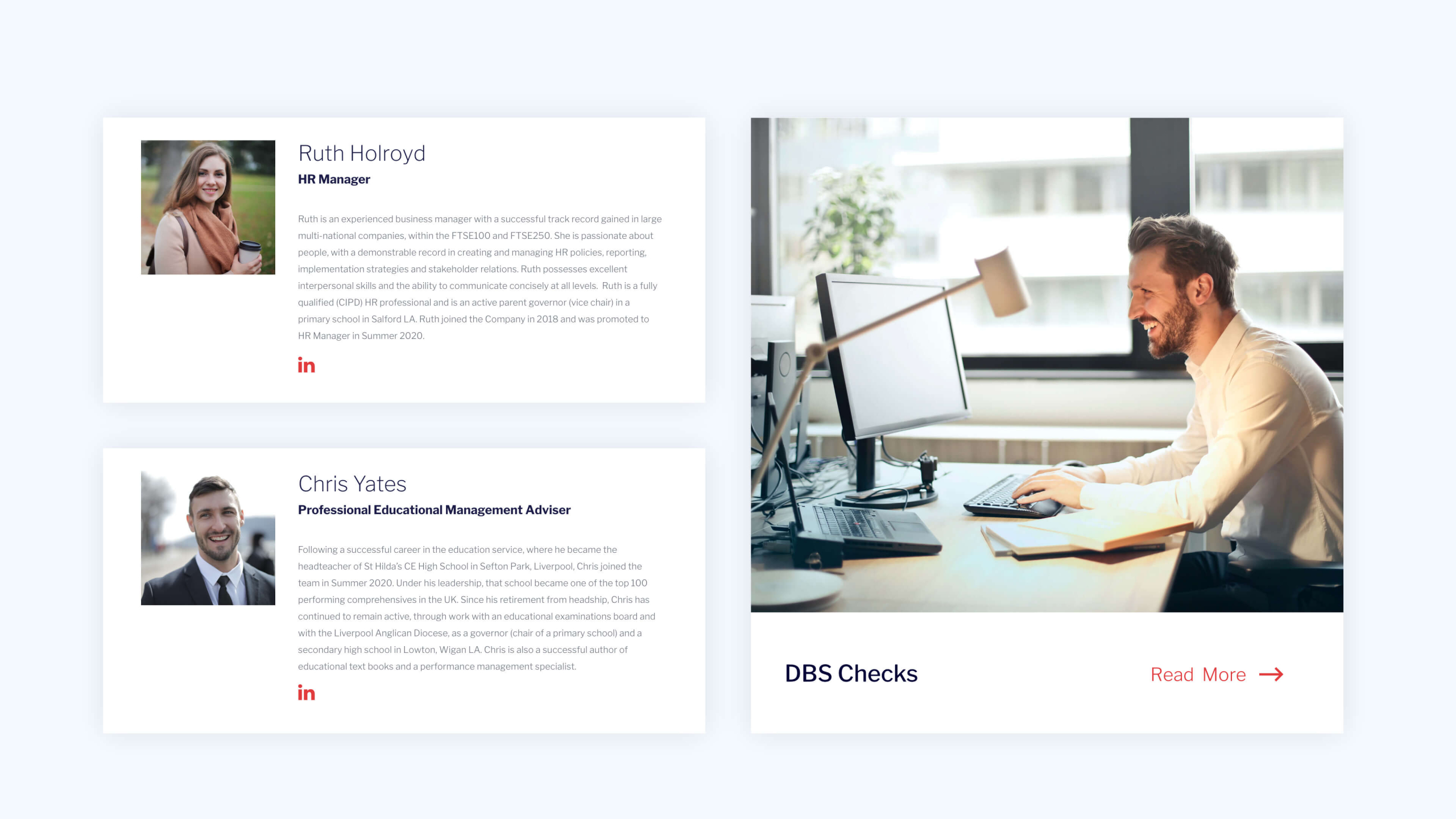 WwS website staff profiles