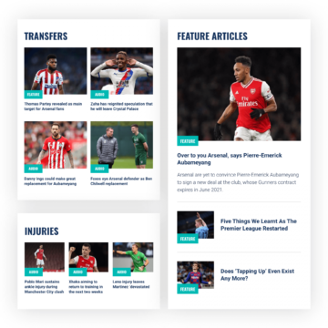 Sport Social website mobile pages