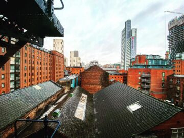 Manchester city centre rooftops redbrick buidlings