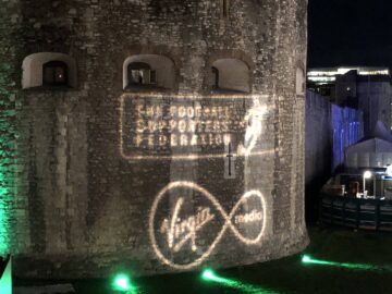 FSA Football Supporters Federation logo projected on Tower of London