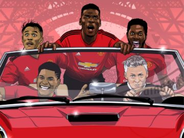 Ole Is At The Wheel football illustration featuring Manchester United Solskjaer, Paul Pogba and Marcus Rashford