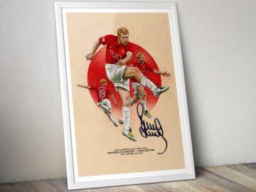 Paul Scholes Manchester United v Barcelona Champions League goal illustration artwork poster