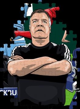 Sam Allardyce chippy illustration on jigsaw pieces