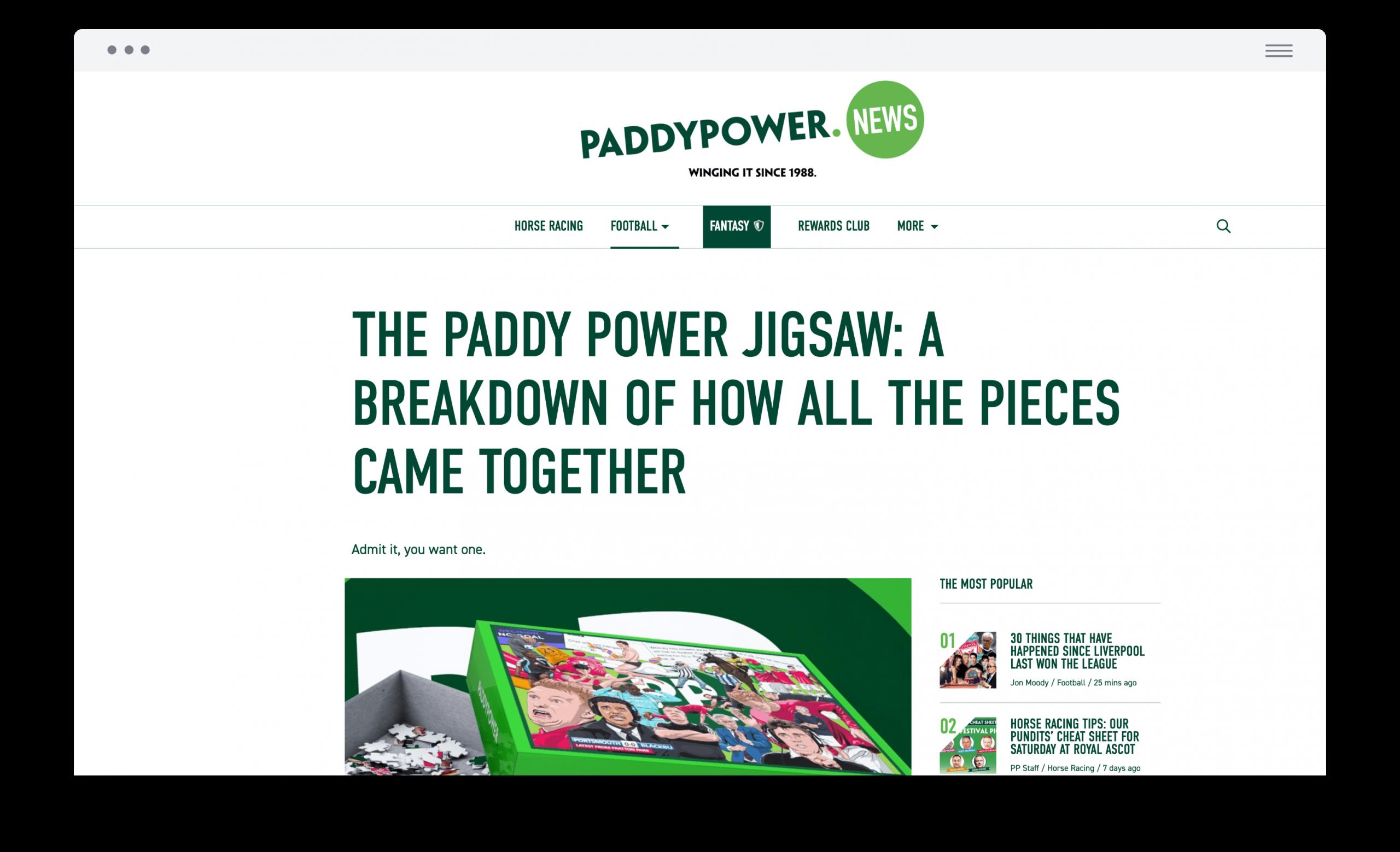 Paddy Power jigsaw news article