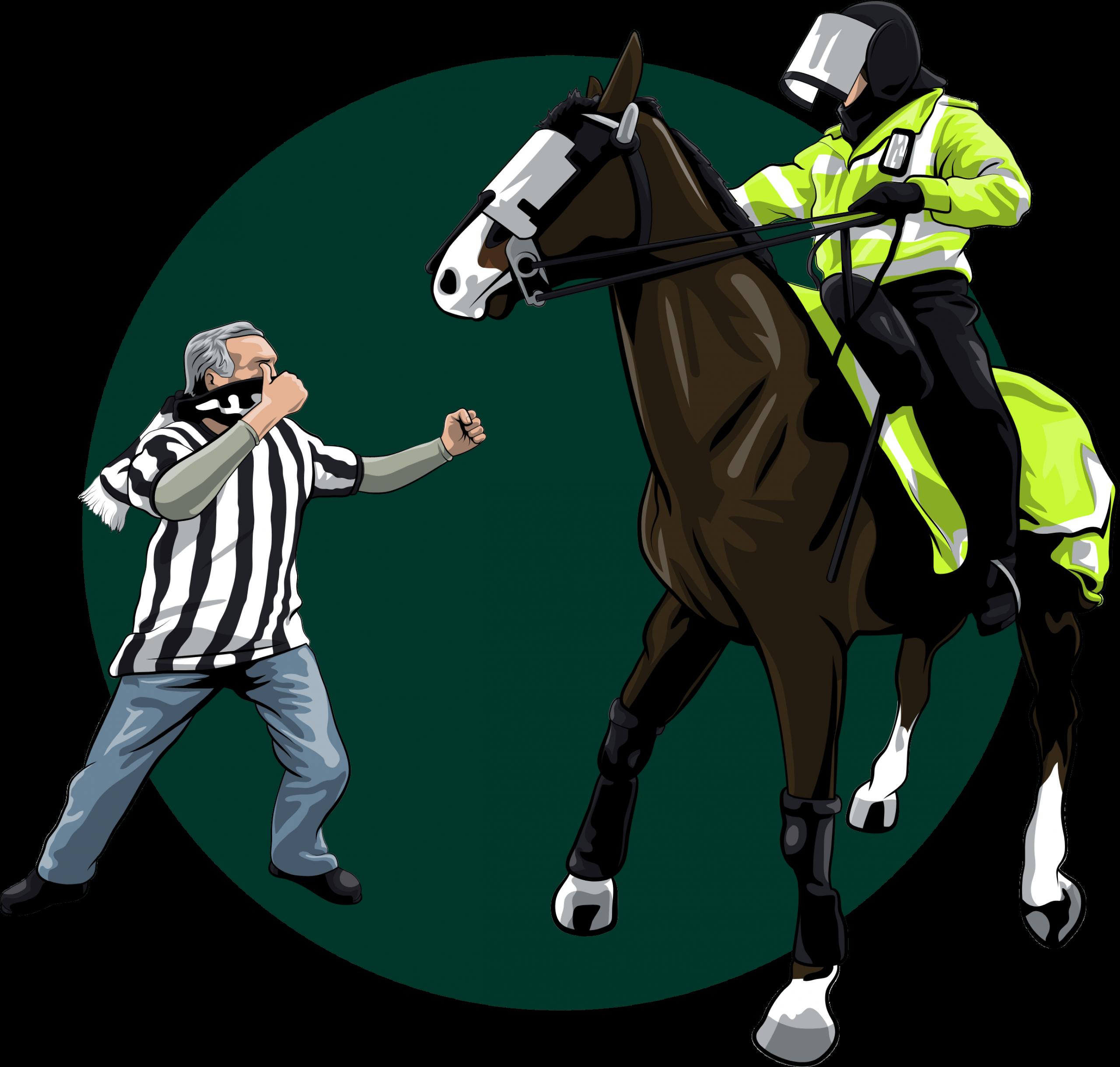 Newcastle fan punching a horse illustration