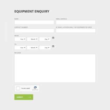 CHC website equipment enquiry form