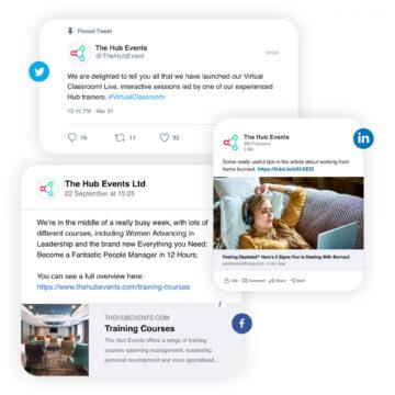 The Hub Events social media posts