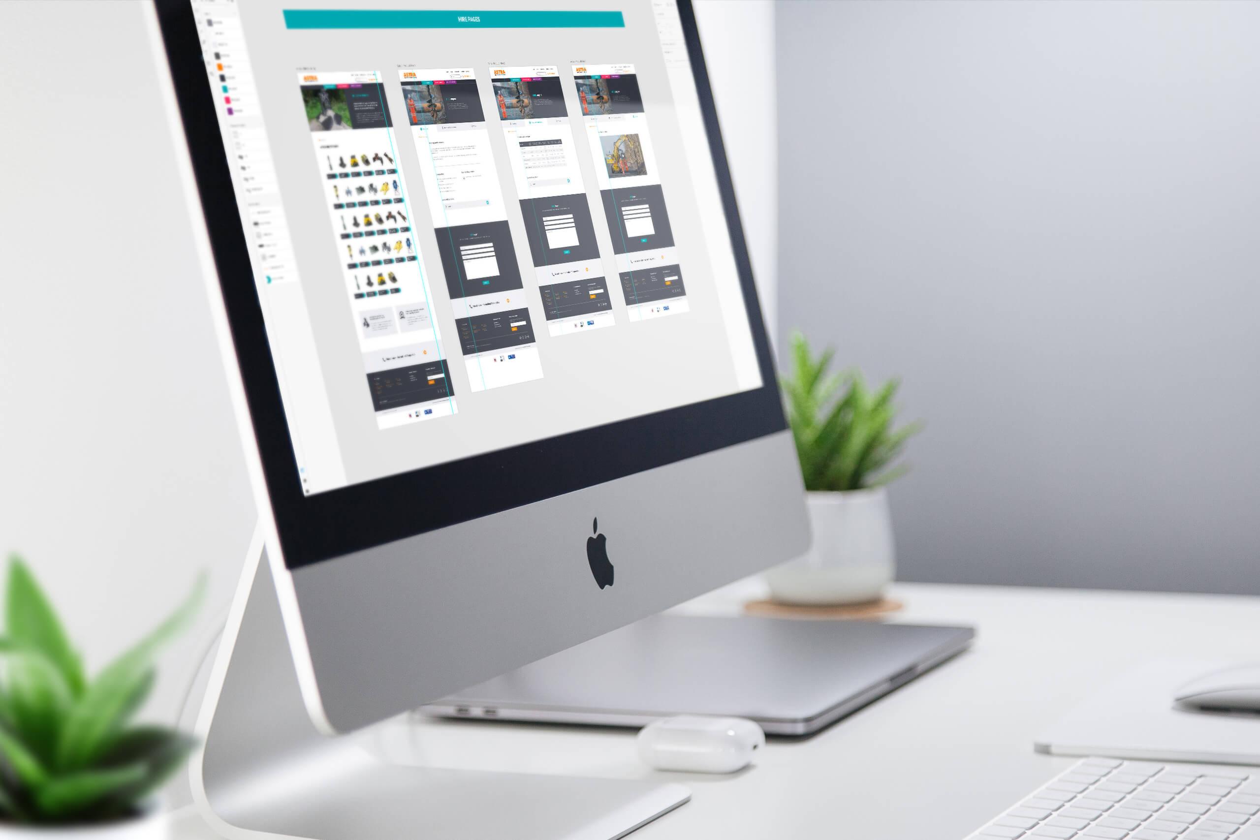 Adobe XD web page layouts displayed on iMac